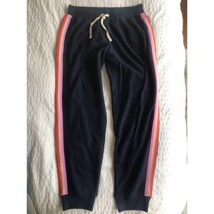 J. Crew navy retro striped joggers 💫 🌈
